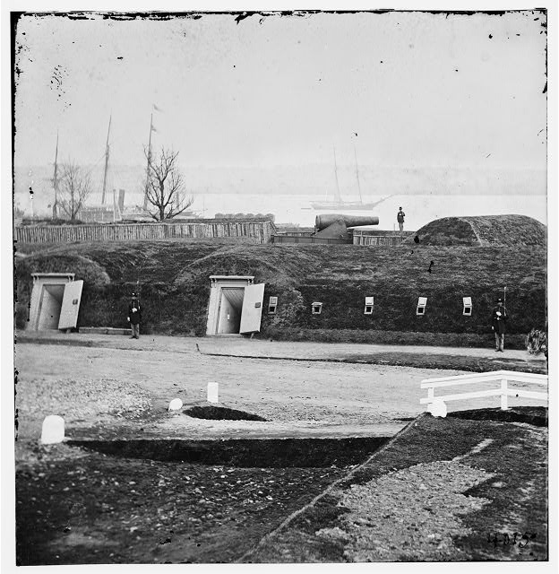 Alexandria, Virginia (vicinity). Battery Rodgers overlooking the Potomac near Jones' Point
