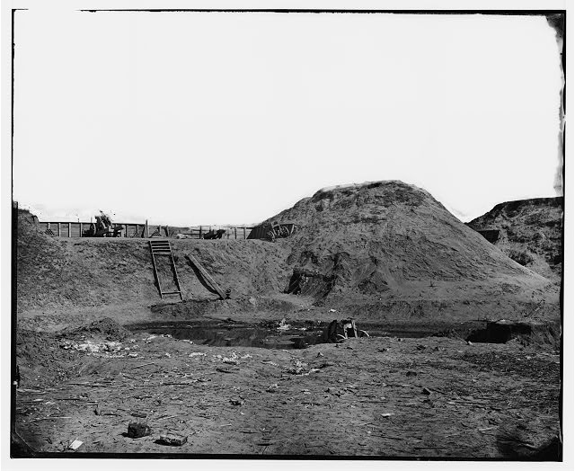 [Fort Fisher, N.C. Interior view of transverse and magazine on the land front]