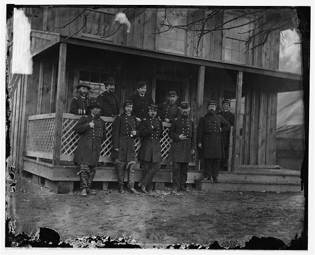 Aquia Creek, Virginia. Group standing in front of hospital