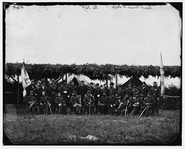 [Portrait of Maj. Gen. George G. Meade, officer of the Federal Army, and staff, vicinity of Washington, D.C., June 1865]