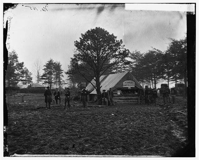 [Brandy Station, Va. Tent of A. Foulke, Sutler, at headquarters of 1st Brigade, Horse Artillery]