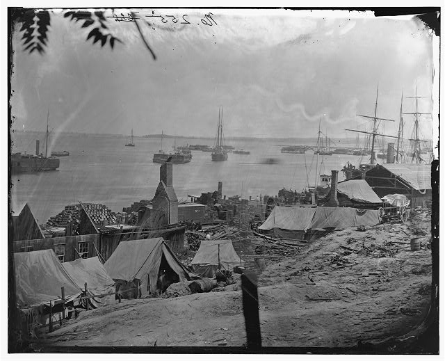 City Point, Virginia. Wharves after the explosion of ordnance barges on August 4, 1864