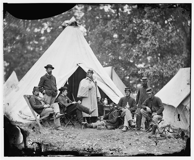 [Fairfax Court House, Virginia]. Capt. J.B. Howard, A.Q.M. and group at headquarters, Army of the Potomac