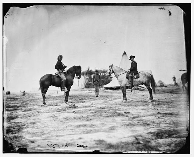 [Falmouth, Va. Capt. George A. Custer and Gen. Alfred Pleasonton on horseback]