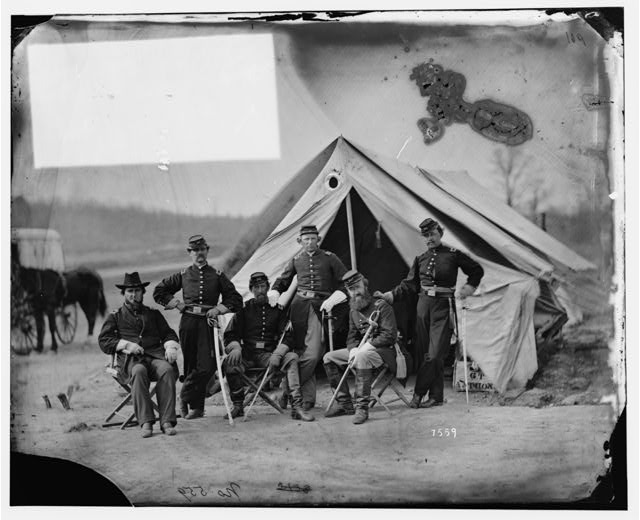 [Six officers of the 17th New York Battery, probably at Camp Barry, near Washington, D.C.]