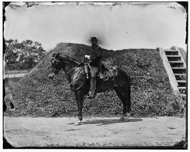 [Gettysburg, Pennsylvania]. Lt. Col. Samuel K. Schwenk, 50th Pennsylvania Infantry (seated on horse)