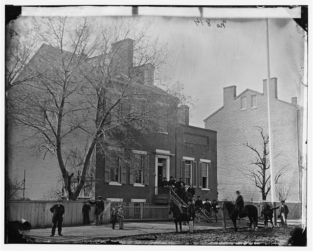 [Washington, D.C. Col. Benjamin F. Fisher and staff on steps of Signal Corps headquarters, 1816 F St., NW]