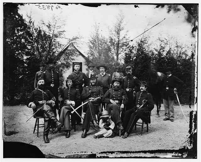 [District of Columbia. Gen. William Gamble and staff at Camp Stoneman, the cavalry depot at Giesborough Point]