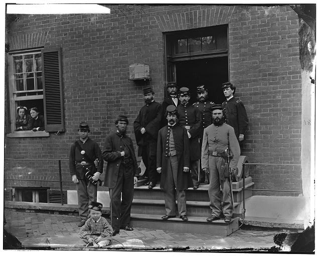 [Washington, D.C. Officers at door of Seminary Hospital (formerly Georgetown Female Seminary), 30th St. at N, Georgetown]