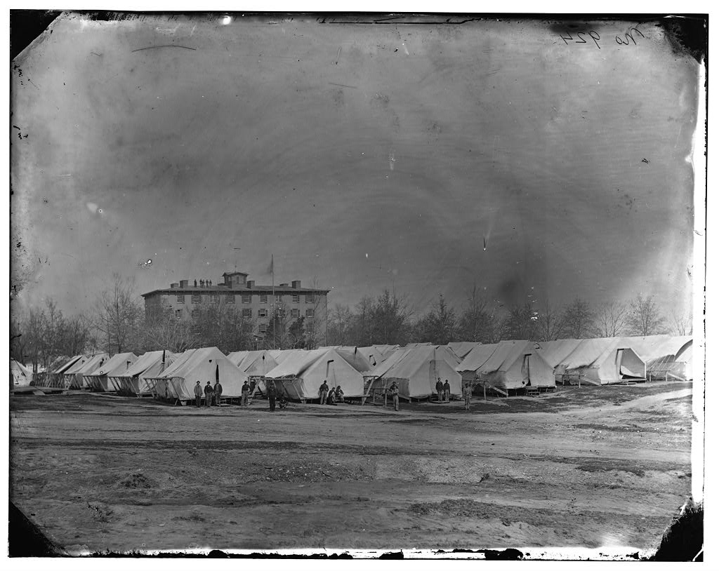 Washington, D.C. Hospital tents at Camp Carver, with Columbian College building.