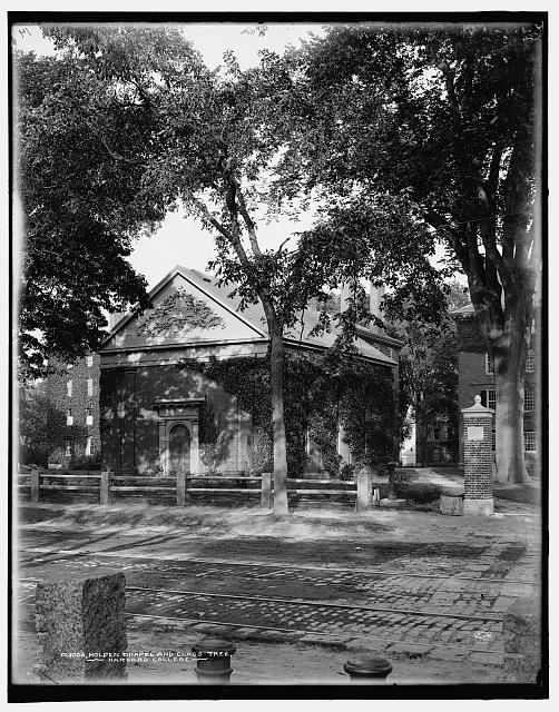 Holden Chapel and class tree, Harvard College