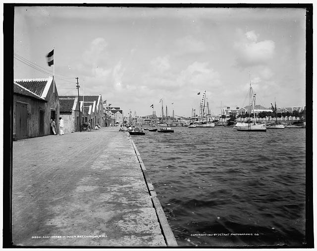 Anchorage in inner bay [i.e. Sint Anna Bay], Curacao, D.W.I.
