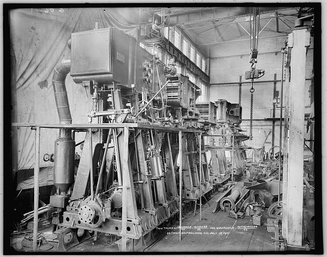 [Marine engines made by Detroit Shipbuilding Co., two triples and a quadruple]