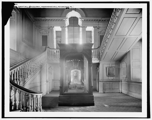 Liberty Bell and stairway, Independence Hall, Philadelphia, Pa.