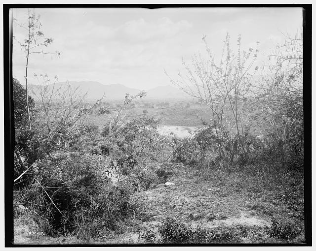 [View towards position of American forces from San Juan Hill, Santiago de Cuba, Cuba]