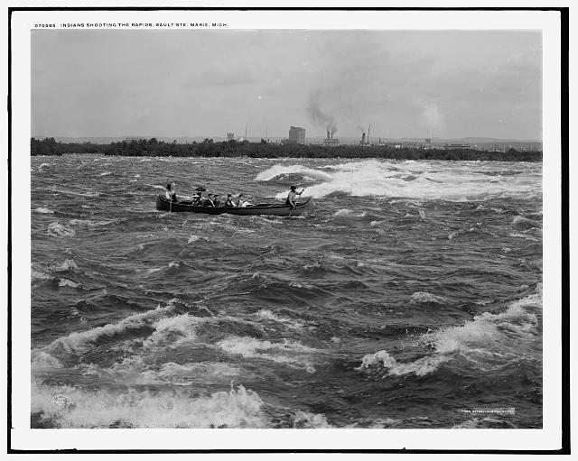 Indians shooting the rapids, Sault Ste. Marie, Mich.