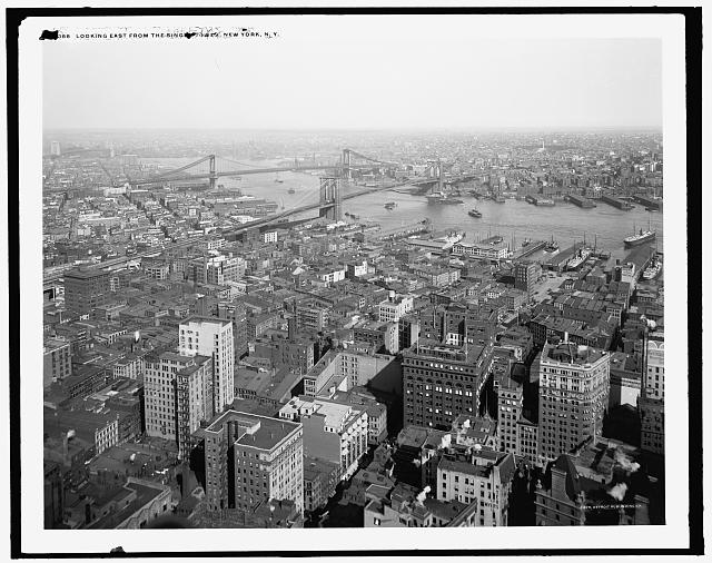 Looking east from the Singer Tower, New York, N.Y.