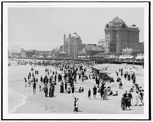 Bathing in front of the big hotels, Atlantic City, N.J.