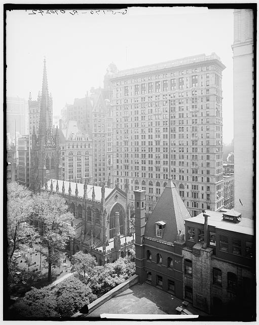 [New York, N.Y., Trinity churchyard and the skyscrapers]