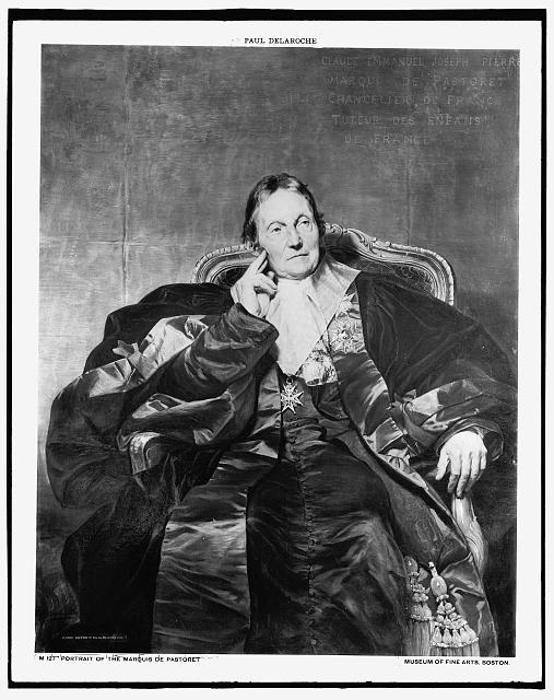 [Marquis De Pastoret, seated in chair, full-length portrait]