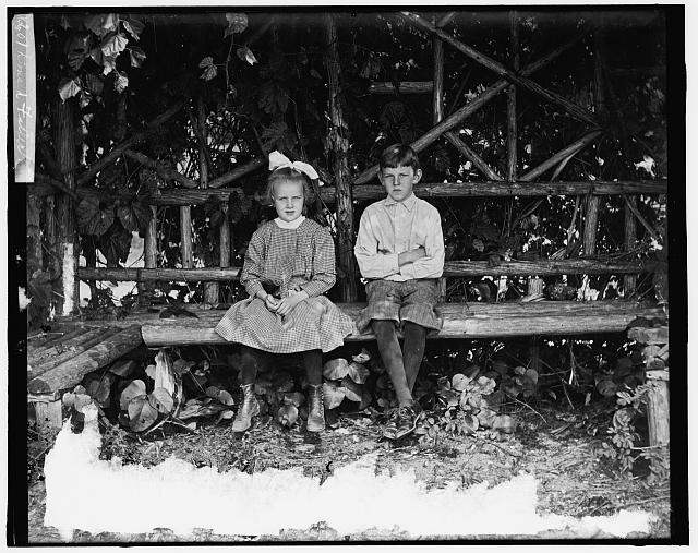 [Boy and girl seated in rustic arbor]