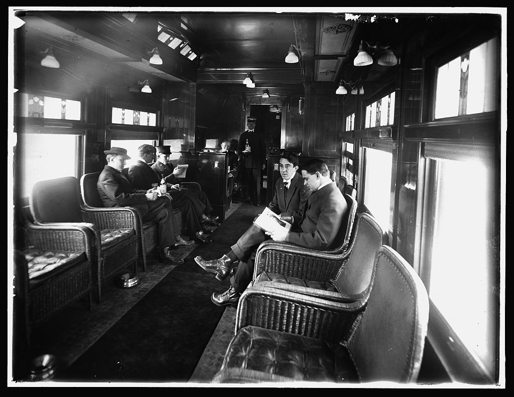 Dining car,deluxe overland limited train,passengers,railroads,interiors,1910