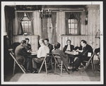 [Groups of men and women playing bridge in Manhattan Alcoholics Anonymous club room]
