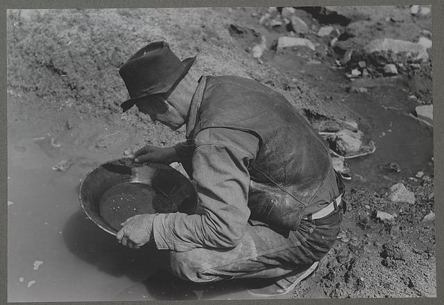Pinos Altos, New Mexico. Prospector panning gold. The light objects are probably not gold as it is very unusual to find pieces this large in this section. They are probably mica (fools' gold) or mercury, which is used to attract the gold