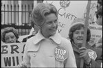 "[Activist Phyllis Schafly wearing a ""Stop ERA"" badge, demonstrating with other women against the Equal Rights Amendment in front of the White House, Washington, D.C.]"