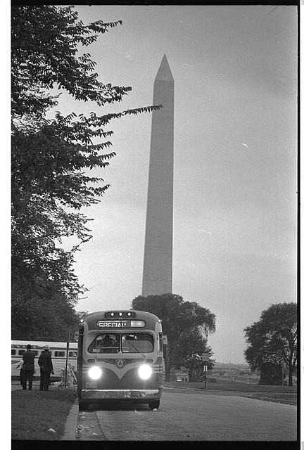 [Bus leaving near the Washington Monument, after the March on Washington, 1963]