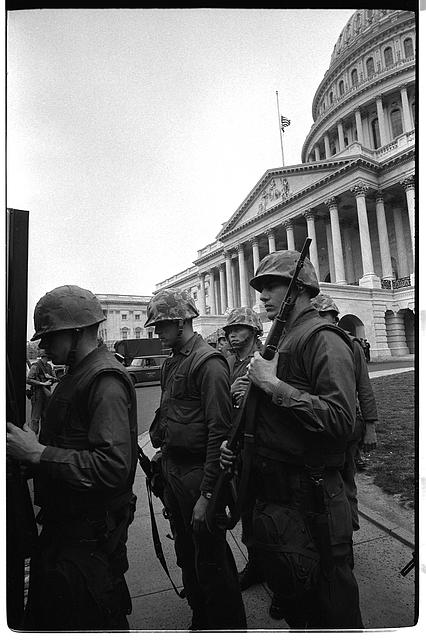 [Soldiers stand guard near U.S. Capitol, during 1968 riots]