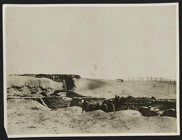 Scenes with the expeditionary force in the Egyptian area British trenches in the sand dunes on the Gaza front.