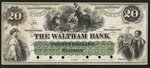 [The Waltham Bank twenty dollar private bank note proof]