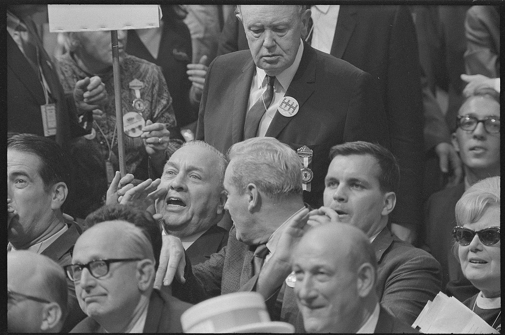 Chicago delegates at the 1968 Democratic Convention react to speech by Abe Ribicoff