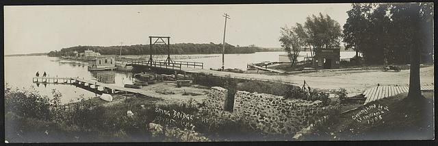 Swing bridge at Spirit Lake