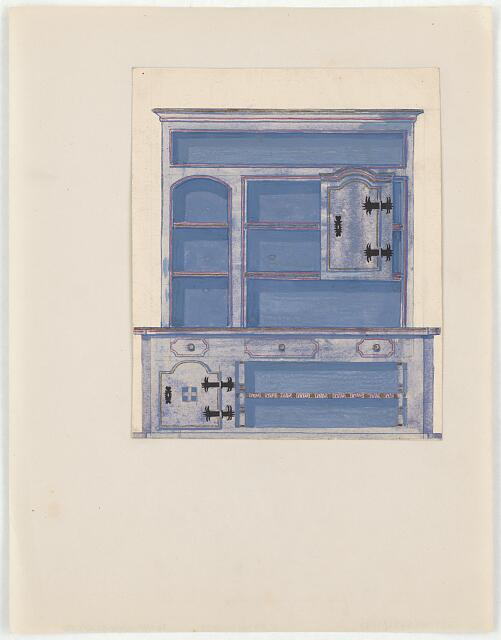 """[Design for a cupboard or sideboard in """"folk"""" style]"""