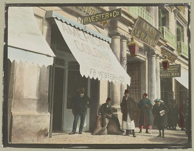 [American Colony store, Jerusalem, with Frederick Vester standing out front]