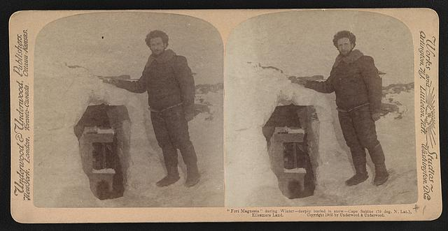 """""""Fort Magnesia"""" during winter - deeply buried in snow - Cape Sabine (79 deg. N. lat.), Ellesmere Land"""