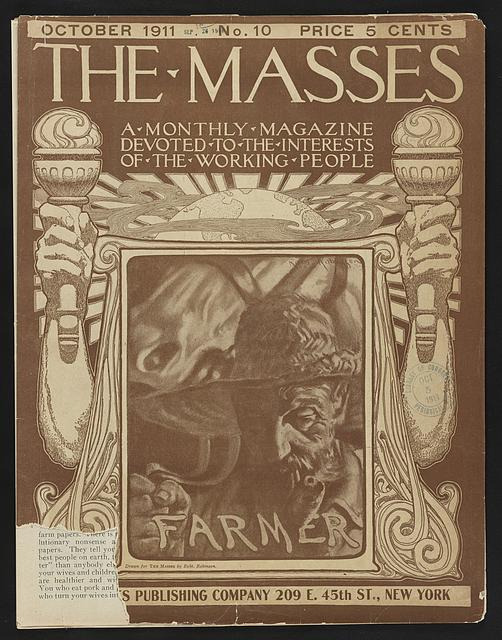[Cover of The Masses magazine with illustration of a farmer]
