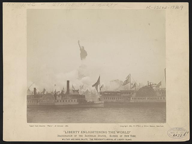 Liberty enlightening the world--Inauguration of the Bartholdi Statue, Harbor of New York--Military and naval salute, the President's arrival at Liberty Island