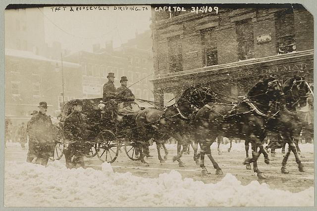 Taft & Roosevelt driving to Capitol, Mar. 4, 1909