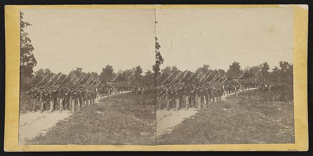 [Soldiers from the 134th Illinois Volunteer Infantry marching at Columbus, Kentucky]
