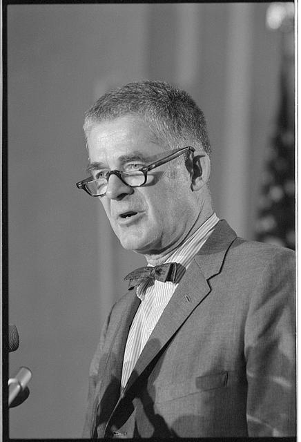 [Watergate special prosecutor Archibald Cox, half-length portrait, standing, facing left, at a press conference at the Justice Department on June 4, 1973]