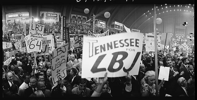 "[Delegates on the floor at the 1964 Democratic National Convention, Atlantic City, New Jersey; sign reading ""Tennessee for LBJ""]"