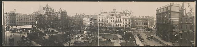 Panoramic view of Leicester Sq., London