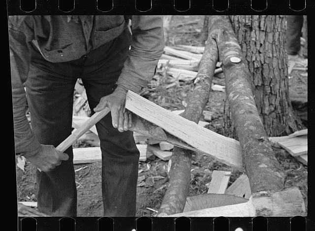 Splitting shingles with froe and maul on Wilson Cedar Forest, near Lebanon, Tennessee