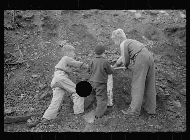 [Untitled photo, possibly related to: Miner's sons salvaging coal during May 1939 strike, Kempton, West Virginia]