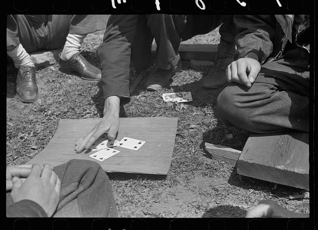 Coal miners playing cards during May 1939 strike