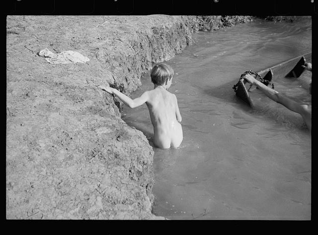 [Untitled photo, possibly related to: Swimming hole at the Dyess Colony, Mississippi County, Arkansas]