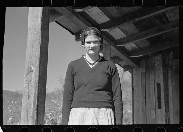 [Untitled photo, possibly related to: Virgie Corbin, Blue Ridge Mountain Girl. This girl who is about sixteen has the mentality of a child of seven. She has never advanced beyond the second grade. Shenandoah National Park, Virginia]